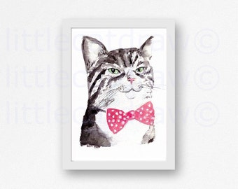 Tabby Cat with Bow Tie Art Print Kitty Cat Watercolor Painting Art Print Handsome Kitty Cat Unframed Cat Art Print