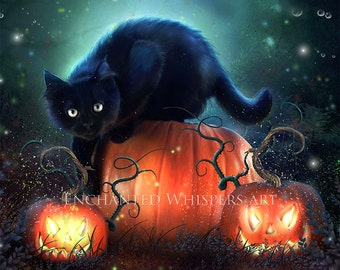 Black Cat art | black cat print| Halloween cat print | Black cat picture | Halloween decor | fantasy cat print | Halloween wall art