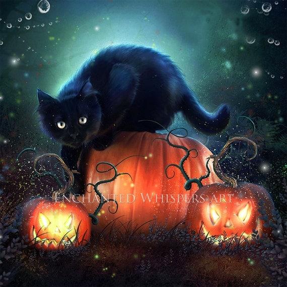 Items similar to Black Cat art | black cat print| Halloween cat ...