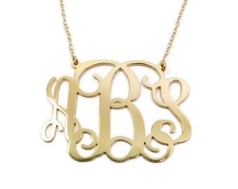 """2"""" Monogram Necklace. Personalized Sterling silver 925 Plated 18k gold. bridesmaids gift, monogram jewelry. Monogram jewelry. Personalized."""