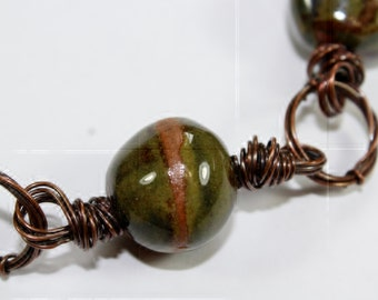 Handmade Earth Tone Blue/Green Ceramic and Copper Necklace