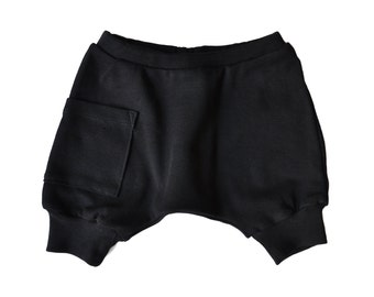 Baby Boy Clothes - Baby Clothes, Organic Baby Clothes, Baby Shorts, Baby Boy Shorts, Baby Boy Harem Shorts, Baby Harem Shorts - Black