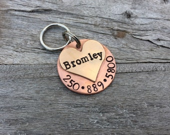 "Handmade Custom Hand-stamped Dog tag - The ""Bromley"" - Personalized"