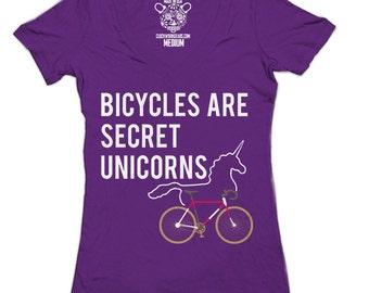Bicycles Are Secret Unicorns Women's Deep V-Neck Top