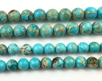 natural blue impression jasper beads, round dyed blue jasper gemstone beads, loose semi precious stone beads 8mm 10mm 15'' strand