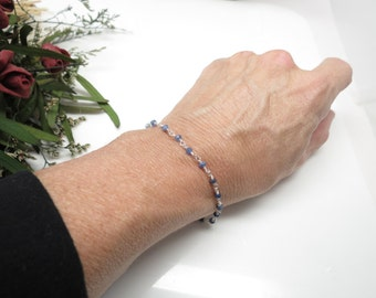 Blue Sapphire Bracelet, September Birthstone, Wire Wrapped Ombre Sapphire Bracelet In Sterling Silver, 6.75-8 Inches Length, Ombre Sapphire