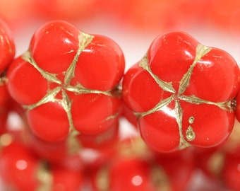 Czech Pressed Glass Flower Beads Red with Golden Inlay, side drilled 14x6mm: 6pc 931