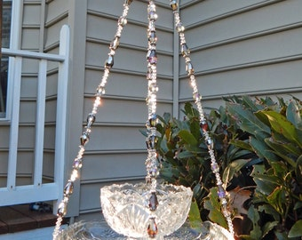 Vintage Cut Crystal Hanging Bird Feeder, Garden Decor, Mothers Day Gift