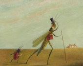 """Animal Painting:  """"The Lawyer, Edmund Sherry, and his Articled Clerk, Byron Sweeting, Traversing the Hoo Marshes, Autumn 1825"""""""