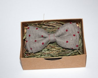 Polka dot linen bow tie, Men's linen bow tie, Cherry bow tie, Bow tie for boys, Rustic bow tie, Wedding bow tie, Party bow tie, Prom bow tie