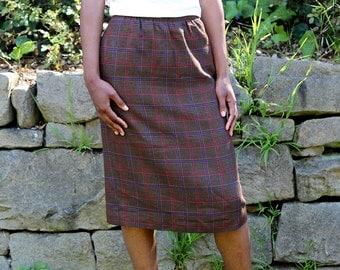 Vintage Brown Plaid Midi Skirt