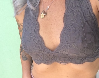 "Lace halter soft bra in color ""Overcast"" gray bralette"