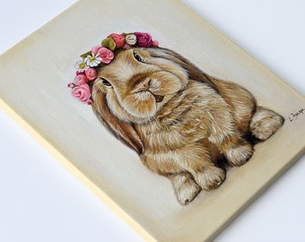 Bunny print on canvas. Rabbit wrapped canvas. Bunny giclée print. Rabbit art. Easter gift.  Kids decor. Children decor. Nursery art. Spring.