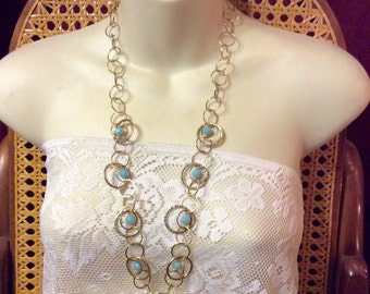 Vintage 1960's gold hoops chain turquoise beads accents necklace