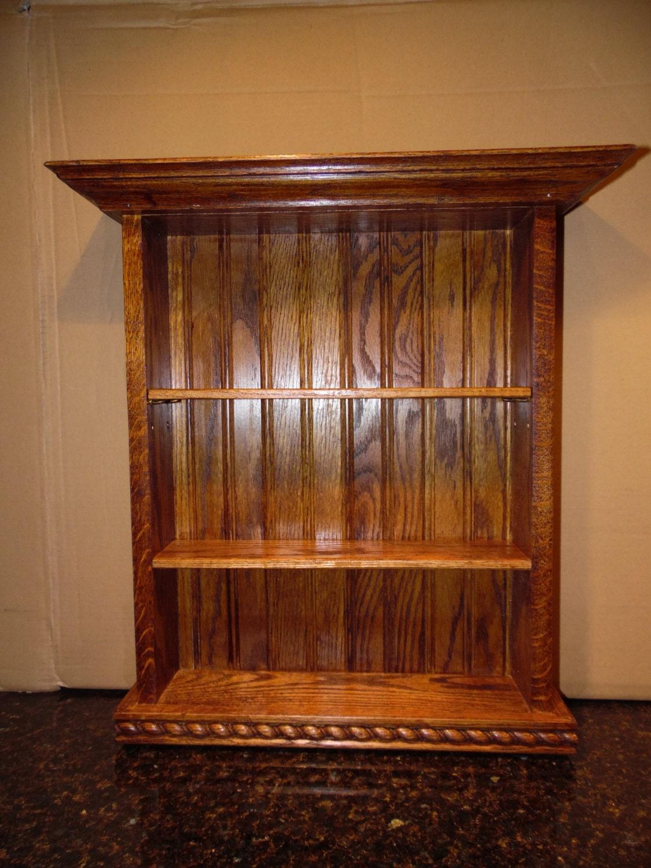 solid oak hanging wall shelf medicine cabinet curio shelf. Black Bedroom Furniture Sets. Home Design Ideas