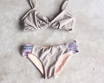 Reversible Khaki with Grey and Pink Sides 'Maria Top' and 'Trenza Bottoms'
