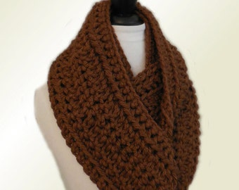 BROWN INFINITY SCARF Cowl Long Knit Chunky Infiniti Scarf Mans Scarf Crochet Brown Circle Scarf Gift Idea Ready to Ship