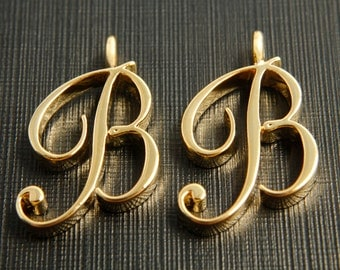 Alphabet B with link, Nickel free, AB-G8, 2 pcs, 15.5x23.5mm, 3mm thick, Capital letter, 16K gold plated brass, Alphabet charm / pendant