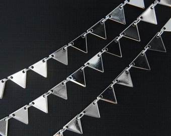 Geometric chain, CJ20-11, 1m, Handmade chain, 6.9x6.9mm triangle, Original rhodium plated brass, Necklace chain, Triangle chain