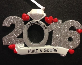 Personalized Engagement 2016 Ornament