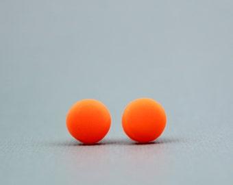neon orange studs, neon orange earrings, fluorescent orange earrings, fluro studs, neon accessories, orange studs, orange earrings, neon