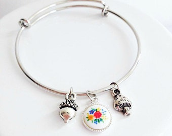 Girls Woodland Inspired Silver Charm Bracelet