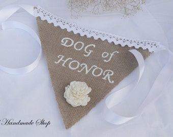 Burlap Dog Bandana, Wedding Bandana,  Dog of Honor, Pet Wedding, Pet Photo Prop