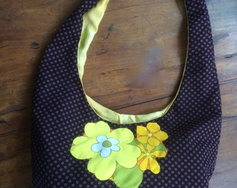 Vintage Bag,1970's flower power,black red and yellow ,appliqued flowers