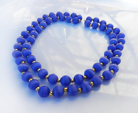 Vintage Satin Silk Bead Necklace Cobalt Blue Color Bead