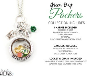 Green Bay Packers Style Football Season Floating Locket Charm Collection or Charm for Magnetic Floating Charm Memory Lockets