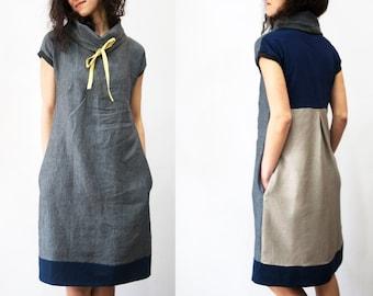 Linen dress, Linen tunic, Sundress, High collar linen dress, Grey pure linen dress, Summer dress, Linen women clothes