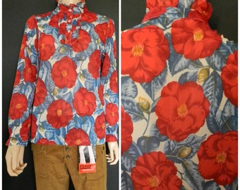 Vintage 60's 70's frilly hippie sheer Poppy Psychedelic blouse M L