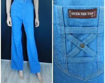 Vintage 70's NWT deadstock high waist rich sky blue bell bottom pants flares 32X34''