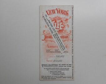 "Vintage Advertising Ink Blotter for "" New York Life"""