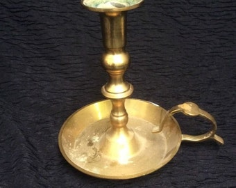 Solid Brass Candle Holder. 1 Lb 7 Oz. Andrea By Sadek