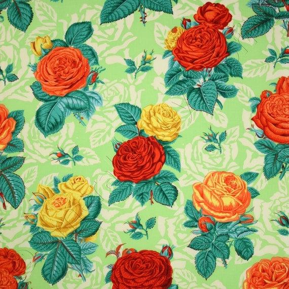 Free Spirit Botanical Roses Green Fabric Pwsl001 Green