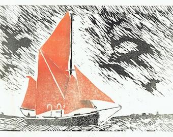 Thalatta - hand-pulled woodcut print of sailing barge