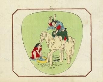 Japanese  Original Antique Woodblock print From 1890 wall art- art decor-home decor decorative art