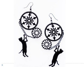 Steampunk cat earrings