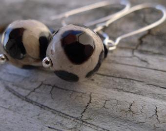 Black and Cream Polka Dot Earrings