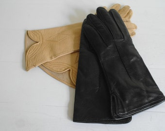 Black Leather Gloves Size 8 by Gala