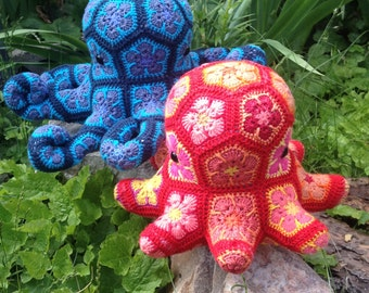 Lineandloops' African Flower crochet Octopus digital pattern - Download only