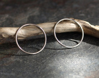 Circle Stud Earrings - Large Sterling Silver Hoops - Modern Minimalist Jewellery - Made in UK