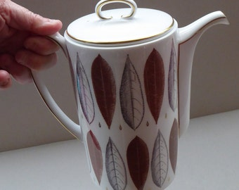 1950s Bone China SUSIE COOPER Coffee Pot. Hyde Park Design with Abstract Leaves