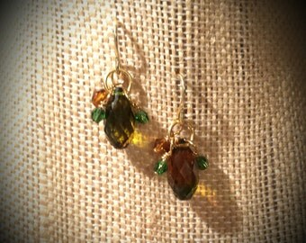 Oval Fauceted Swarovski Crystal Green Amber Two Toned Drops with Tiny Green and Amber Crystal Clusters on Gold Finish Steel Earrings