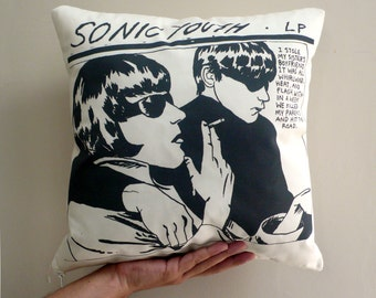Sonic Youth Pillow Cover. Decorative pillow. Organic Cotton  pillow. Insert not included