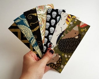 Handmade Bookmarks made from paper scraps and covered with decorative Paper: recycle, upcycle