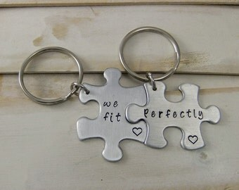 Puzzle Piece Keychain, We Fit Perfectly, Couples Keychain, Long Distance Keychain, Miss You Keychain, Anniversary Gift
