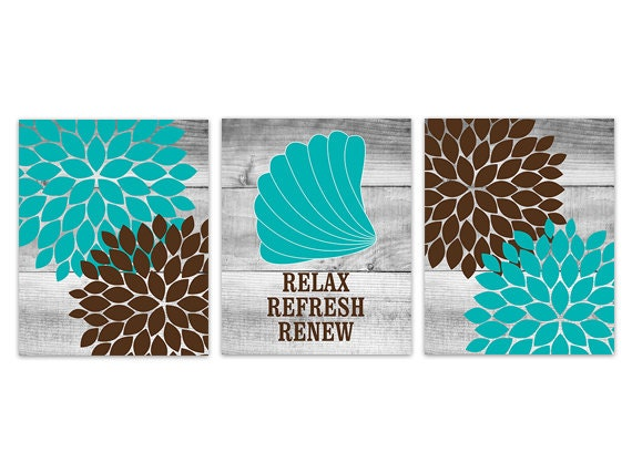 Brown and teal bathroom decor relax refresh renew instant for Teal and brown bathroom decor
