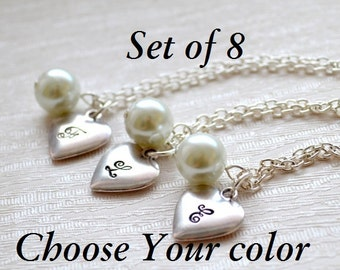 Set of 8 Bridesmaids necklaces Set of eight Bridesmaids Gifts Custom Choose Your color bridesmaid jewelry Flower girl Wedding Heart necklace